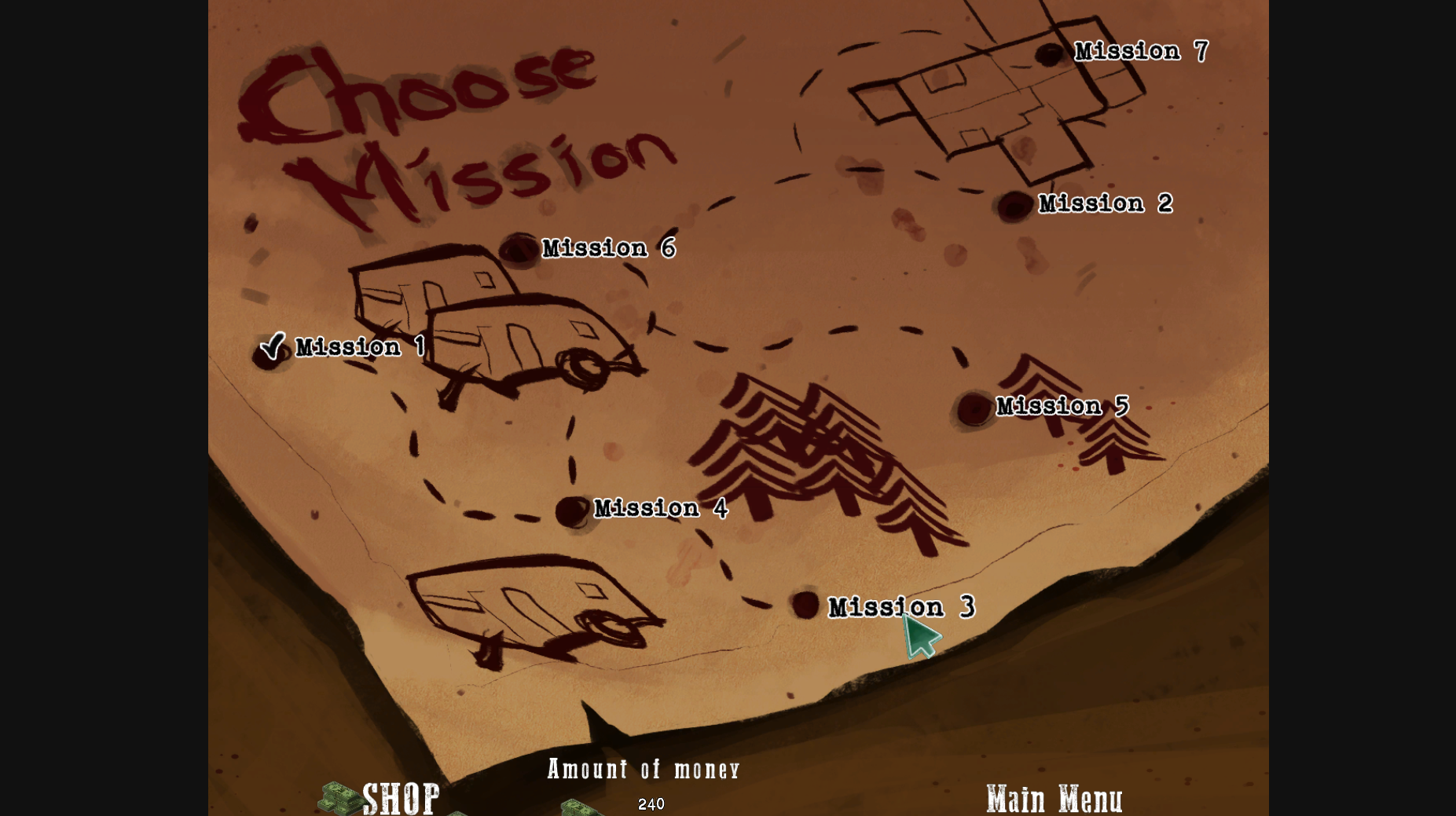 The mission selection screen.